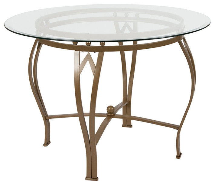 Flash Furniture Syracuse 42'' Round Glass Dining Table with Matte Gold Metal Frame - Pot Racks Plus