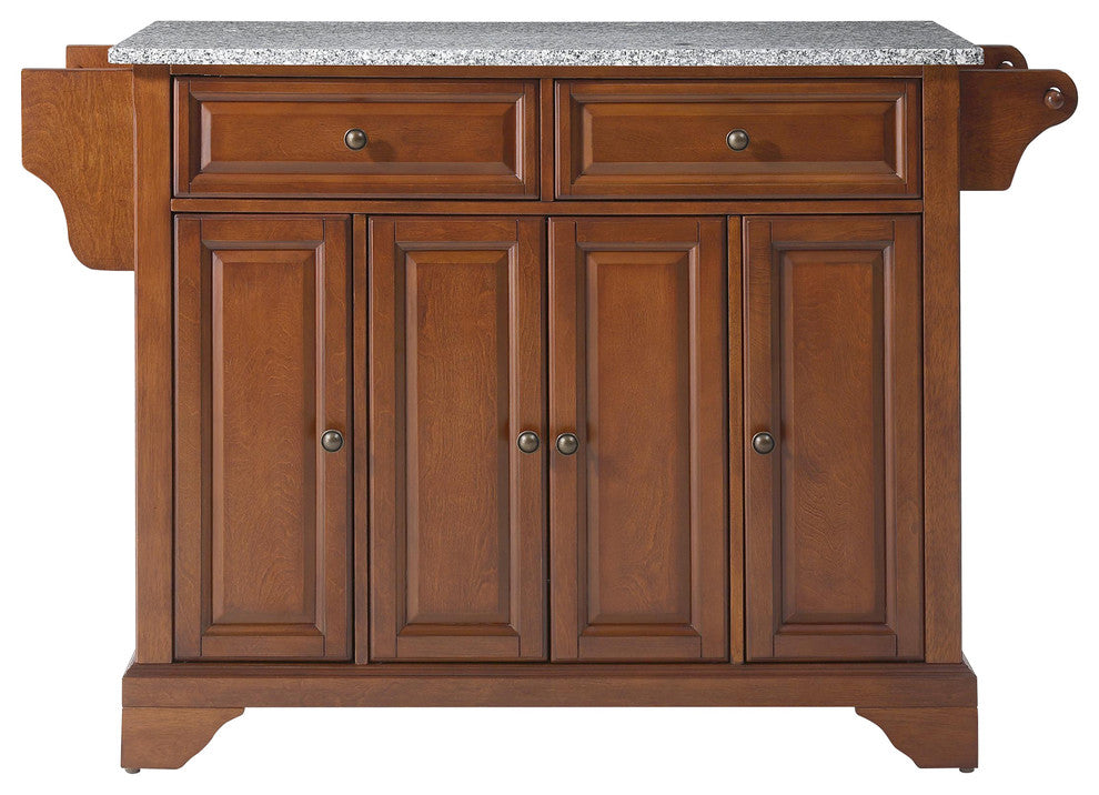 LaFayette Solid Granite Top Kitchen Island, Classic Cherry Finish - Pot Racks Plus