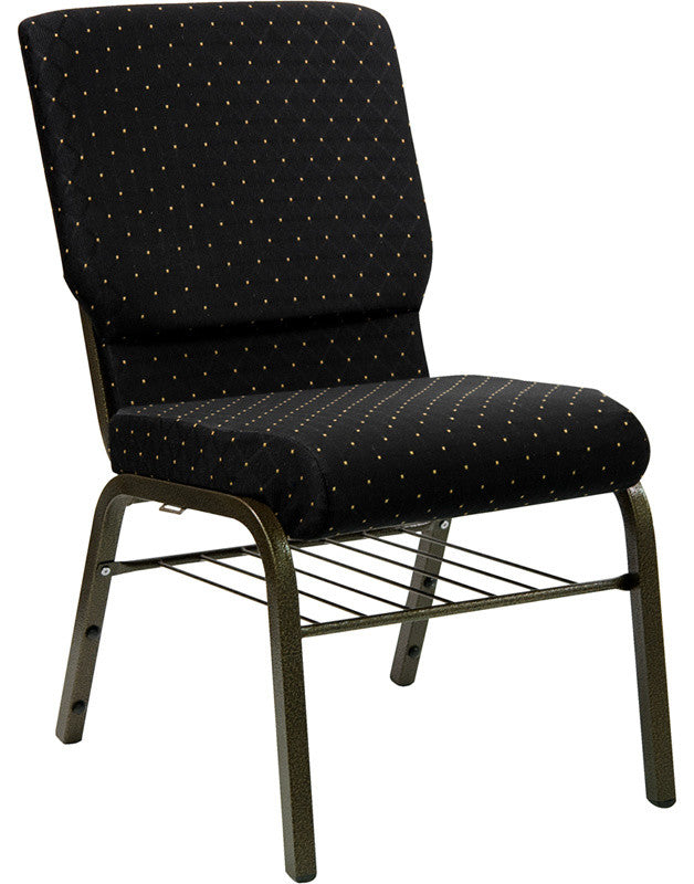 HERCULES Series 18.5''W Church Chair in Black Dot Patterned Fabric with Book Rack - Gold Vein Frame