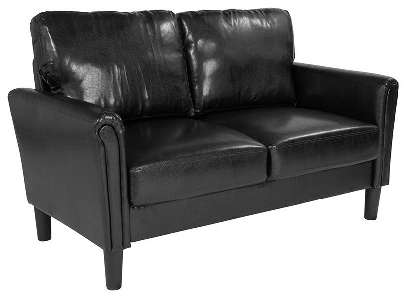 Bari Upholstered Loveseat in Black LeatherSoft
