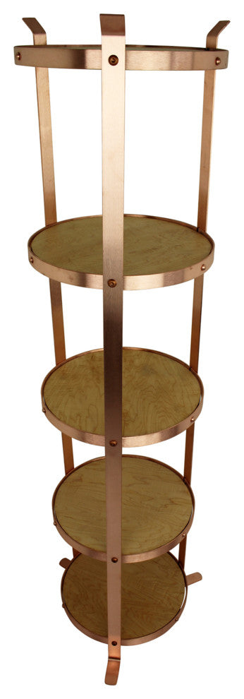 5-Tier Round Designer Stand Solid Copper, Unassembled - Pot Racks Plus