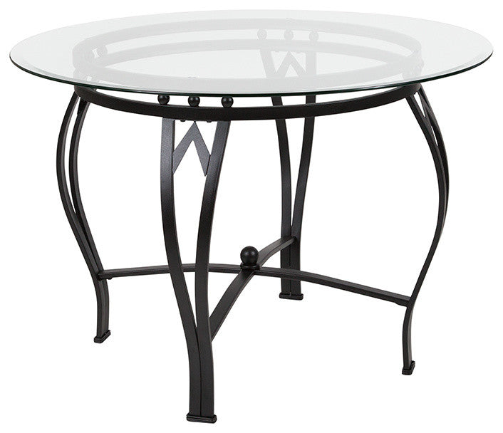 Flash Furniture Syracuse 42'' Round Glass Dining Table with Black Metal Frame - Pot Racks Plus
