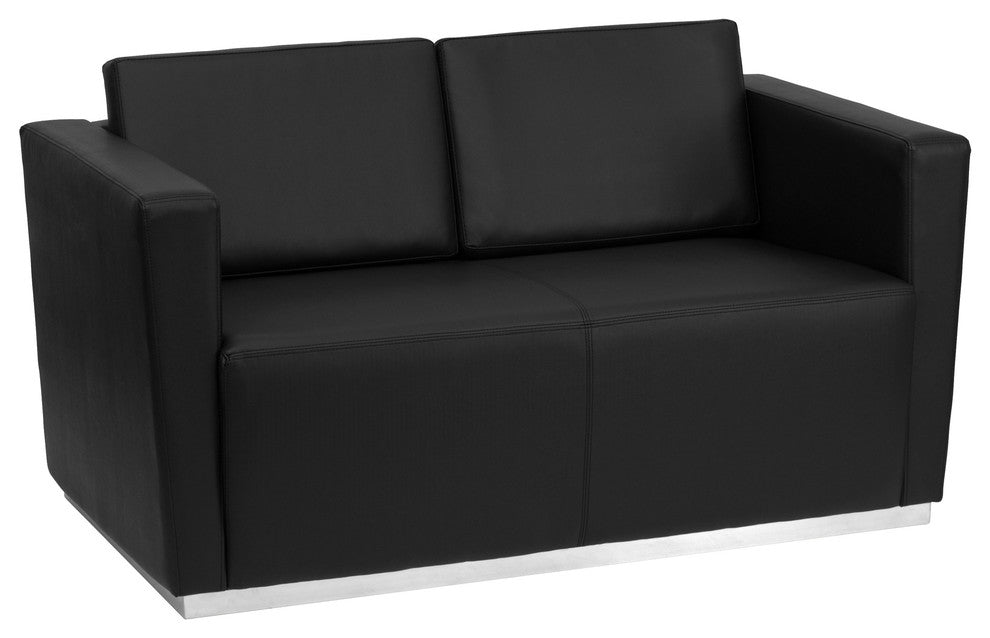 HERCULES Trinity Series Contemporary Black LeatherSoft Loveseat with Stainless Steel Base