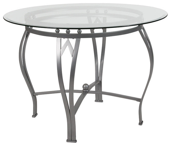 Flash Furniture Syracuse 42'' Round Glass Dining Table with Silver Metal Frame - Pot Racks Plus