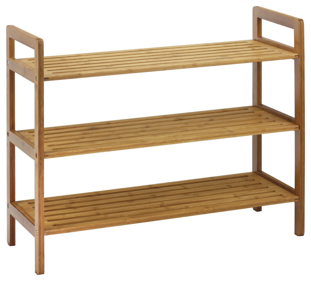 3-Tier Bamboo Shoe Rack, Natural - Pot Racks Plus