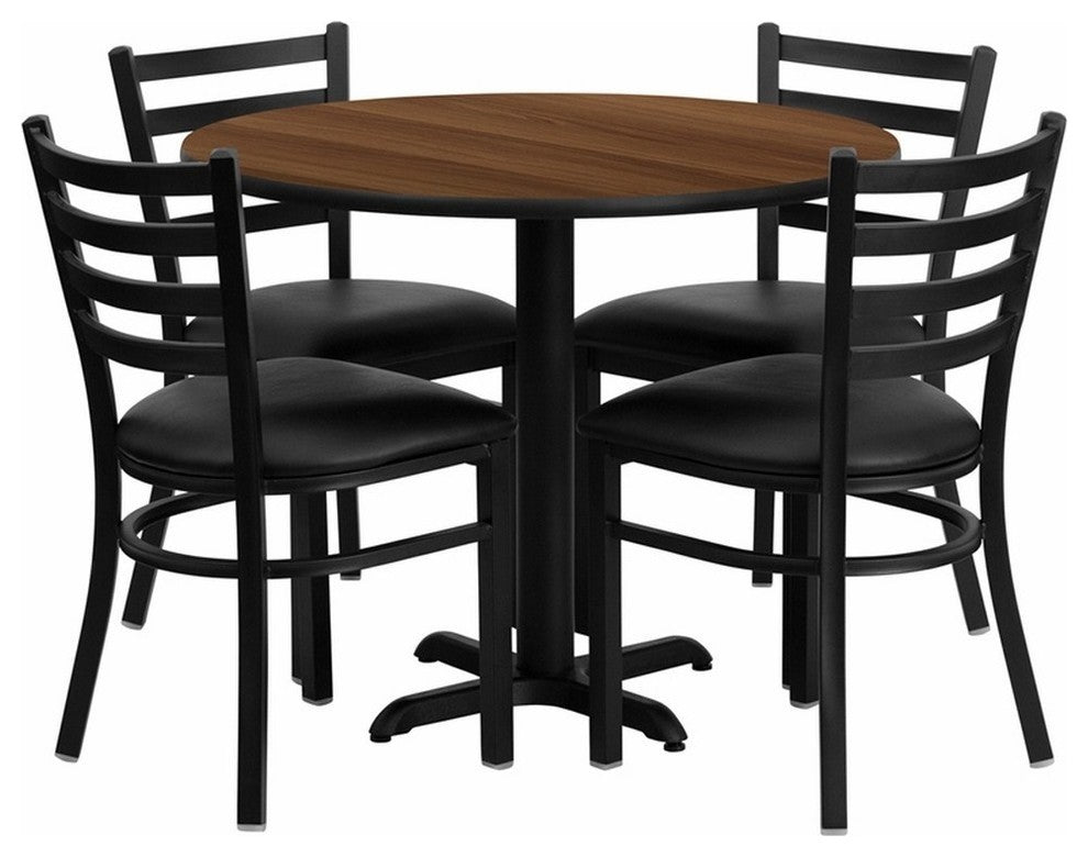 36'' Round Walnut Laminate Table Set with X-Base and 4 Ladder Back Metal Chairs - Black Vinyl Seat
