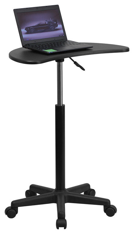 Black Sit to Stand Mobile Laptop Computer Desk