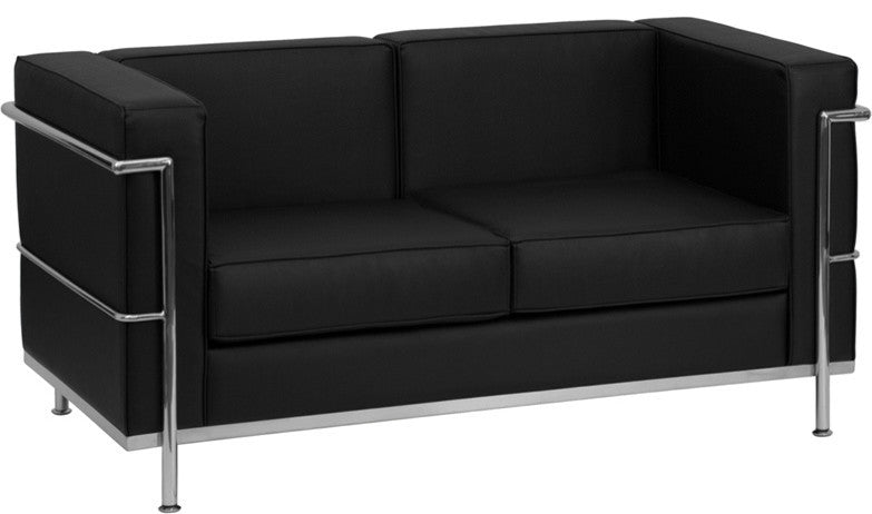 HERCULES Regal Series Contemporary Black LeatherSoft Loveseat with Encasing Frame