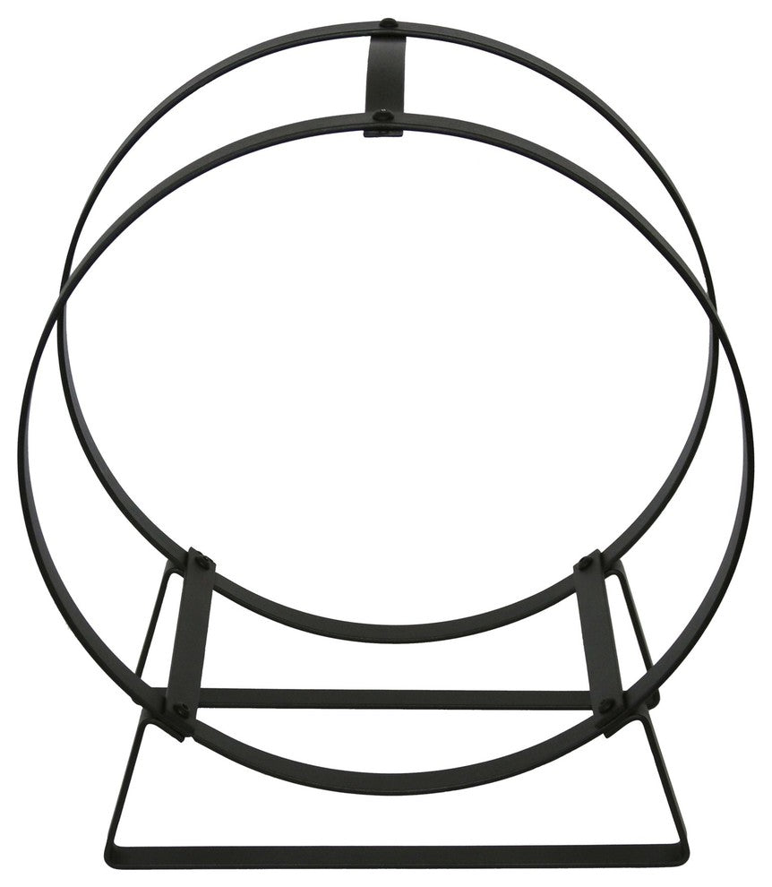 Indoor/Outdoor Hoop Fireplace Log Rack w/ Handle Black Steel - Pot Racks Plus
