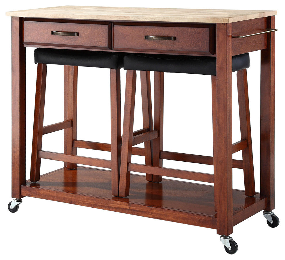 "Natural Wood Top Kitchen Cart/Island, Classic Cherry Finish With 24"" Cherry Up - Pot Racks Plus"