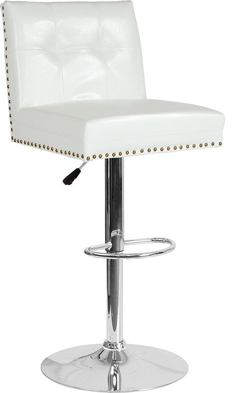Ravello Contemporary Adjustable Height Barstool with Accent Nail Trim in White LeatherSoft