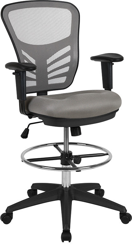 Mid-Back Light Gray Mesh Ergonomic Drafting Chair with Adjustable Chrome Foot Ring, Adjustable Arms and Black Frame