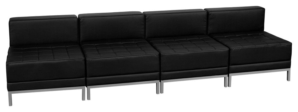HERCULES Imagination Series Black LeatherSoft Lounge Set, 4 Pieces