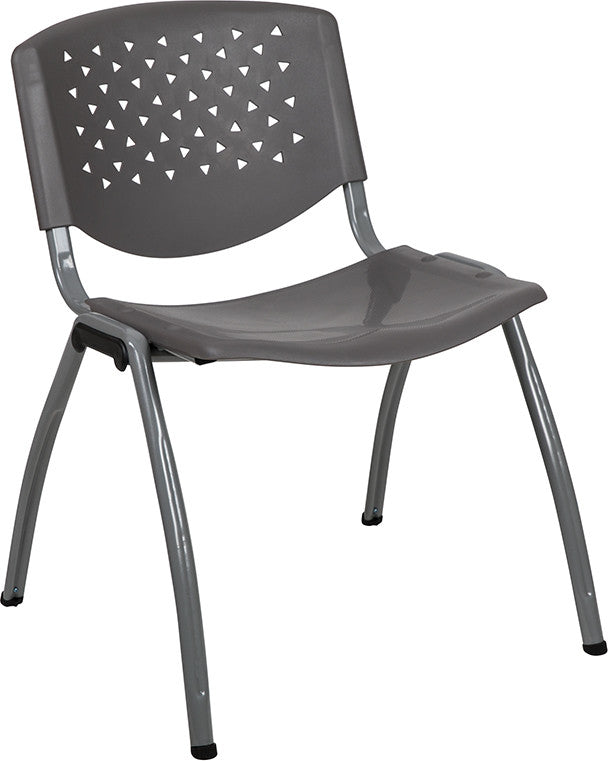 HERCULES Series 880 lb. Capacity Gray Plastic Stack Chair with Titanium Gray Powder Coated Frame