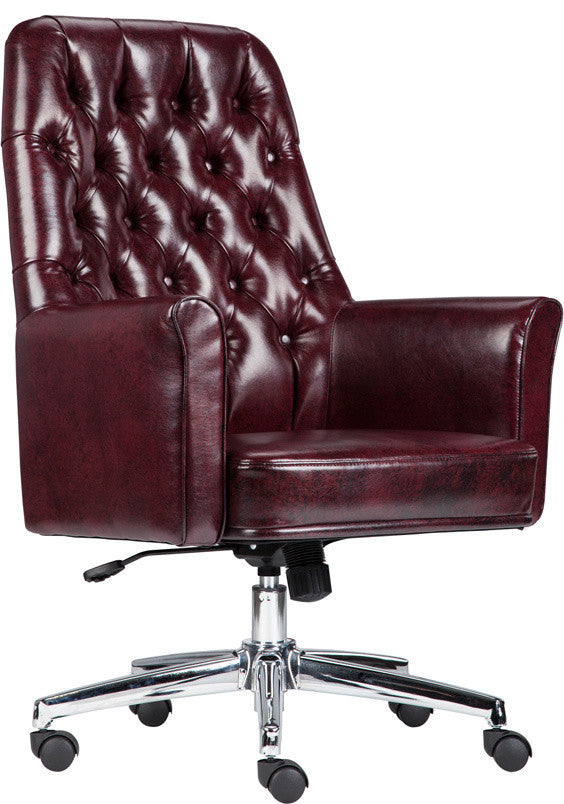 Mid-Back Traditional Tufted Burgundy LeatherSoft Executive Swivel Office Chair with Arms