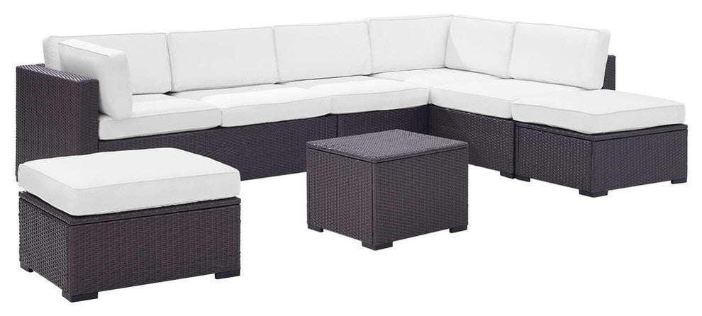 Biscayne Wicker 2 Loveseats, 1 Armless Chair, Coffee Table, 2 Ottomans, White - Pot Racks Plus