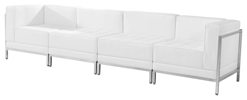 HERCULES Imagination Series Melrose White LeatherSoft 4 Piece Lounge Set