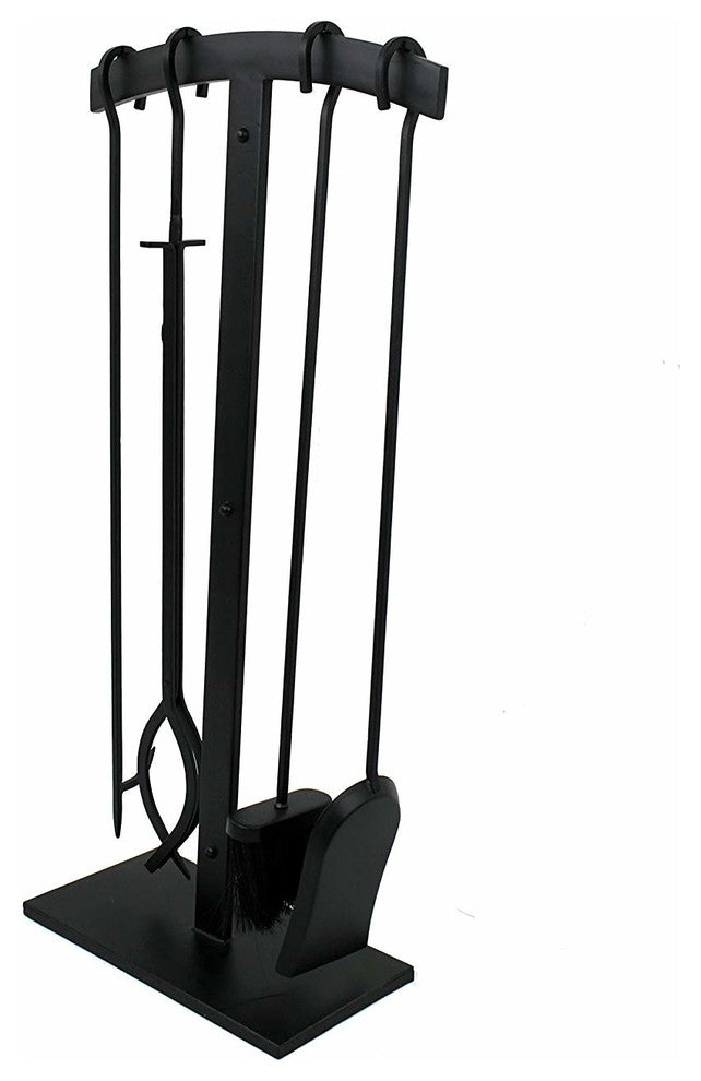 Habitat 4 Pc Arch Top Fireplace Tool Set - Black (Import) - Pot Racks Plus
