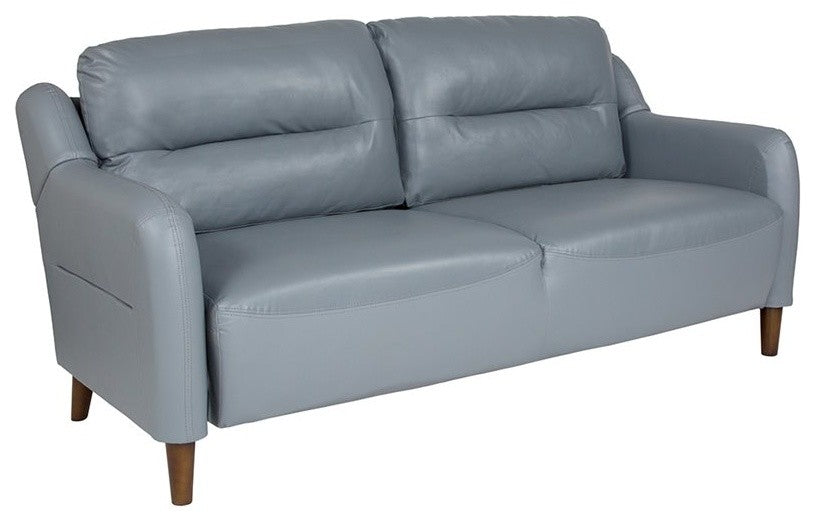 Newton Hill Upholstered Bustle Back Sofa in Gray LeatherSoft