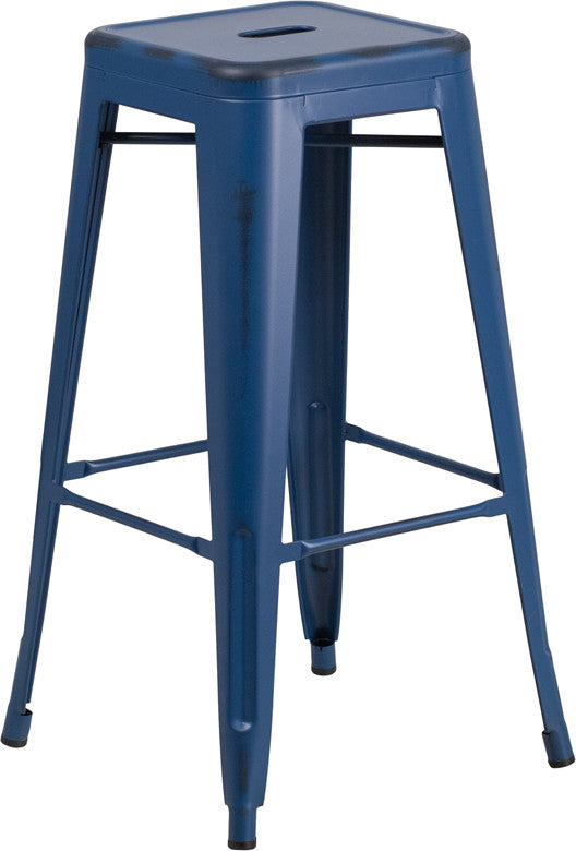 "Commercial Grade 30"" High Backless Distressed Antique Blue Metal Indoor-Outdoor Barstool"