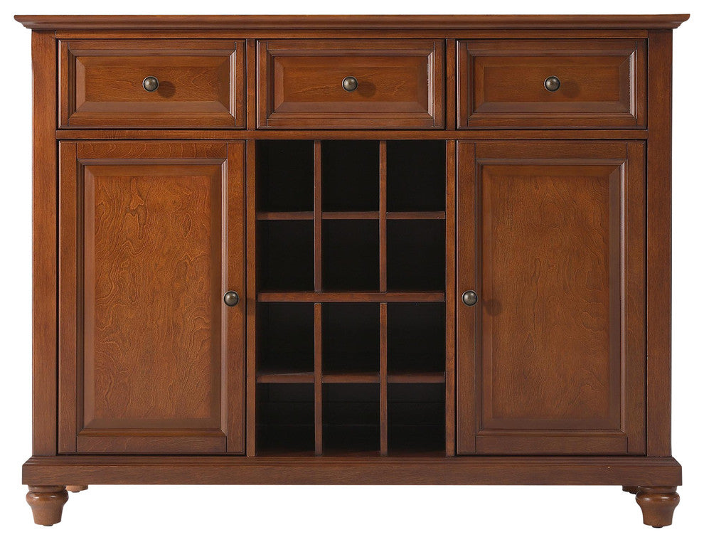 Cambridge Buffet Server-Sideboard Cabinet With Wine Storage, Classic Cherry - Pot Racks Plus