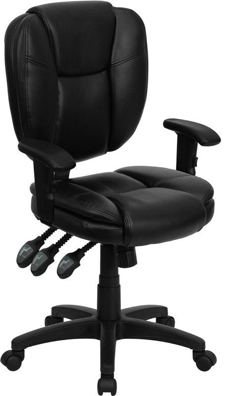 Mid-Back Black LeatherSoft Multifunction Swivel Ergonomic Task Office Chair with Pillow Top Cushioning and Arms