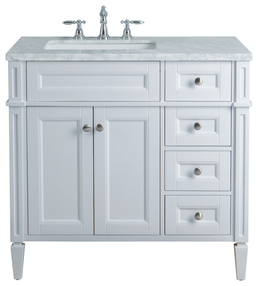 "Anastasia French 36"" White Single Sink Bathroom Vanity - Pot Racks Plus"