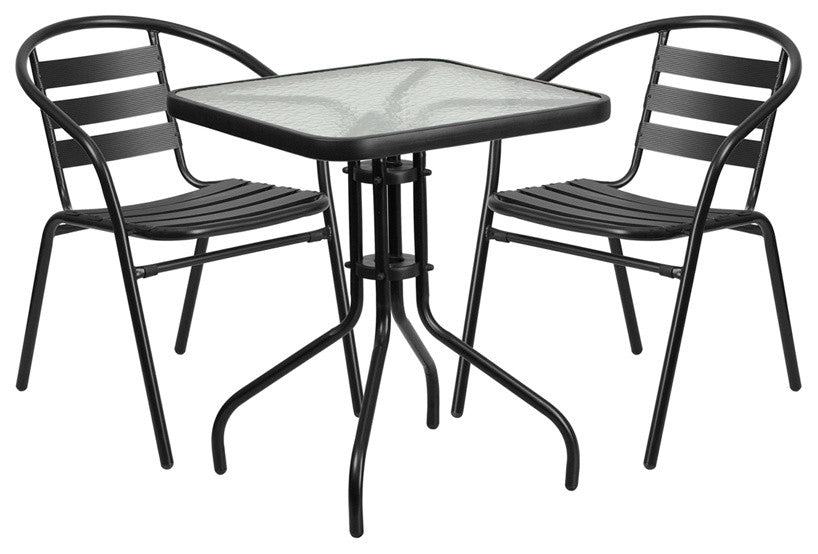 23.5'' Square Glass Metal Table with 2 Black Metal Aluminum Slat Stack Chairs