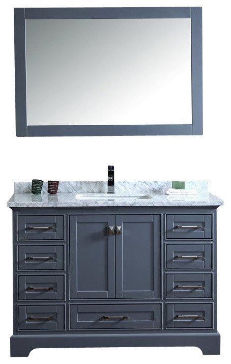Newport Gray 60 inch Double Sink Bathroom Vanity with Mirror - Pot Racks Plus