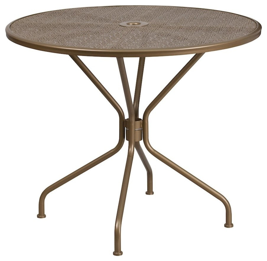 "Commercial Grade 35.25"" Round Gold Indoor-Outdoor Steel Patio Table"