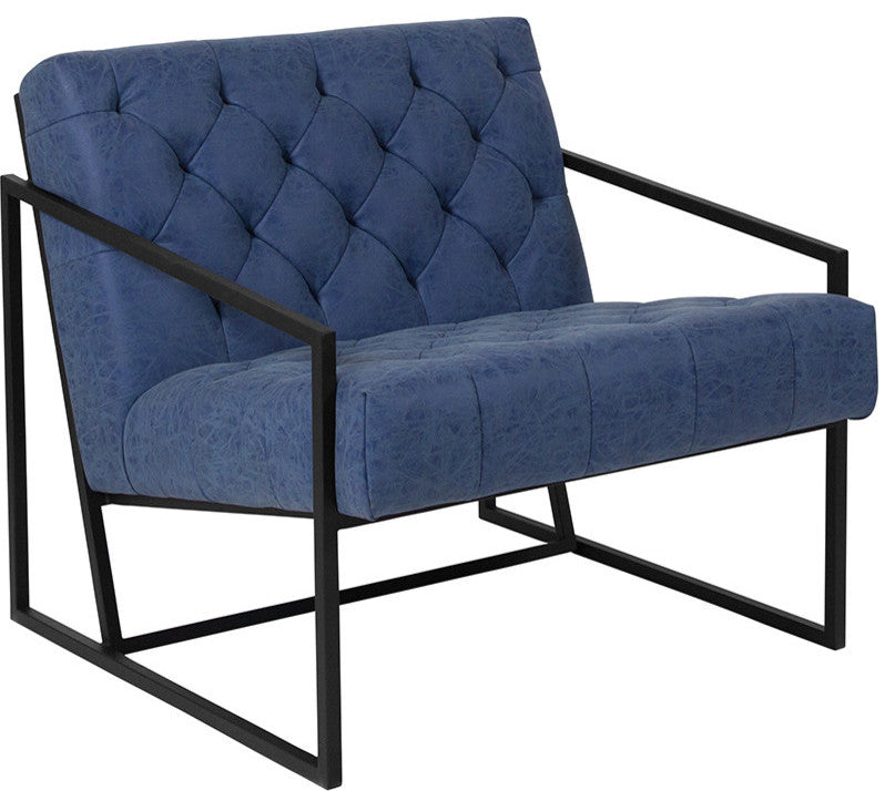HERCULES Madison Series Retro Blue LeatherSoft Tufted Lounge Chair