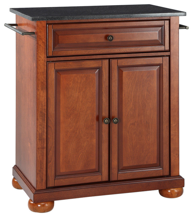 Alexandria Solid Black Granite Top Portable Kitchen Island, Classic Cherry - Pot Racks Plus