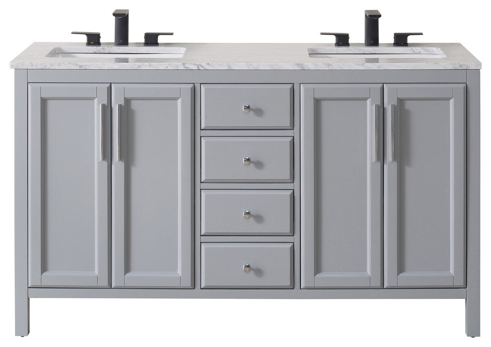 Wright 59 Inch Grey Double Sink Bathroom Vanity - Pot Racks Plus