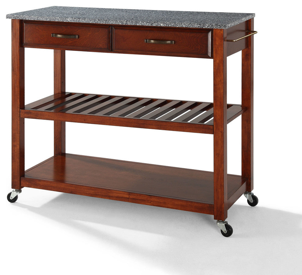 Solid Granite Top Kitchen Cart/Island With Optional Stool Storage, Classic Che - Pot Racks Plus