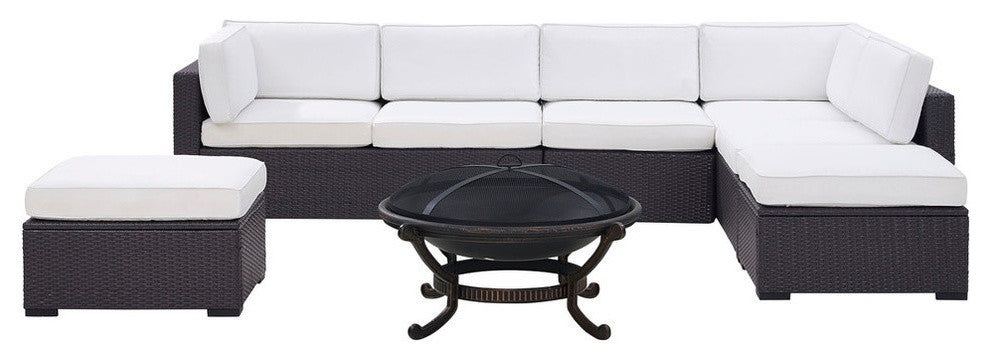 Biscayne Wicker Set 2 Loveseats, 1 Armless Chair, 2 Ottomans, Firepit, White - Pot Racks Plus