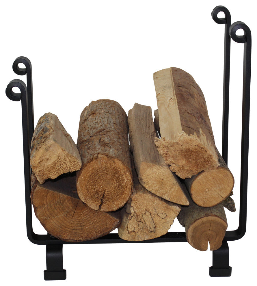 Indoor/Outdoor Hearth Fireplace Log Rack Black Steel - Pot Racks Plus