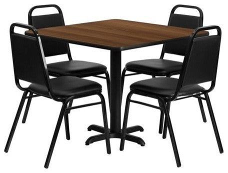 36'' Square Walnut Laminate Table Set with X-Base and 4 Black Trapezoidal Back Banquet Chairs