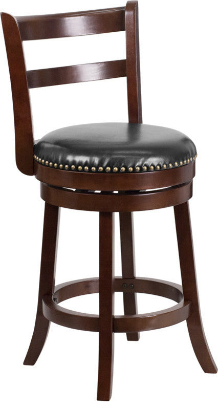 26'' High Cappuccino Wood Counter Height Stool with Single Slat Ladder Back and Black LeatherSoft Swivel Seat