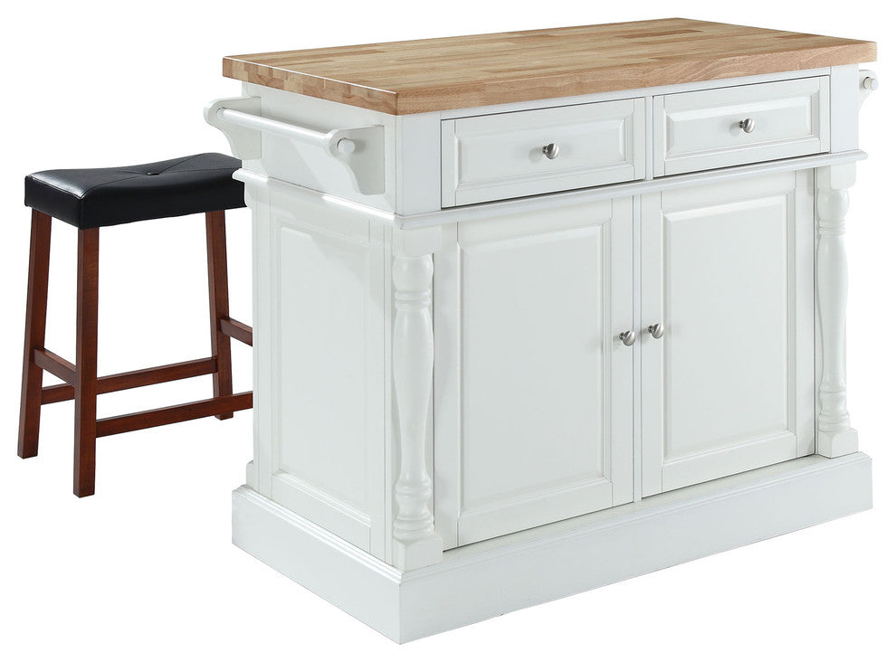"Butcher Block Top Kitchen Island, White Finish With 24"" Black Upholstered Sadd - Pot Racks Plus"