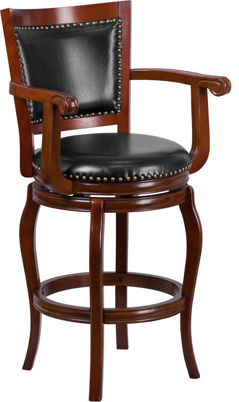 30'' High Cherry Wood Barstool with Arms, Panel Back and Black LeatherSoft Swivel Seat