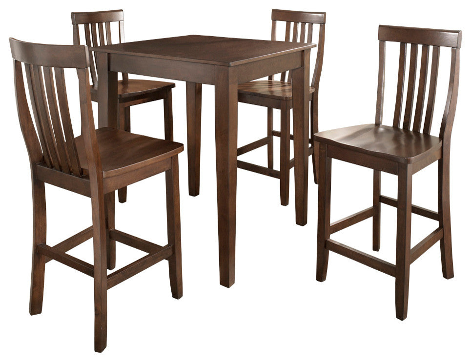 5-Piece Pub Dining Set With Tapered Leg and School House Stools - Pot Racks Plus