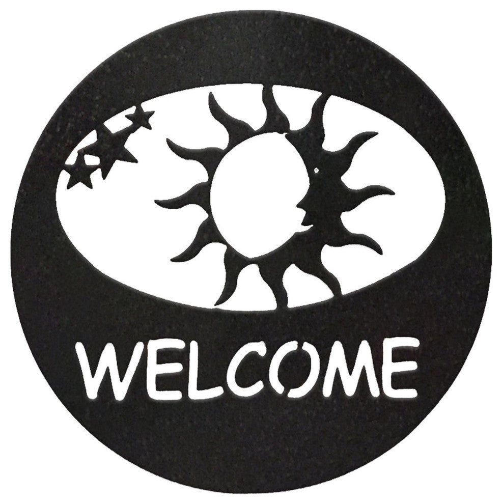 Sun Welcome Circle-Hammered Black - Pot Racks Plus