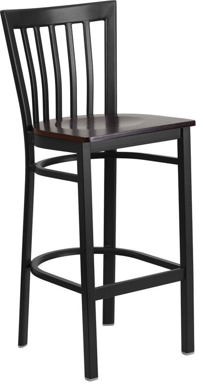 HERCULES Series Black School House Back Metal Restaurant Barstool - Walnut Wood Seat