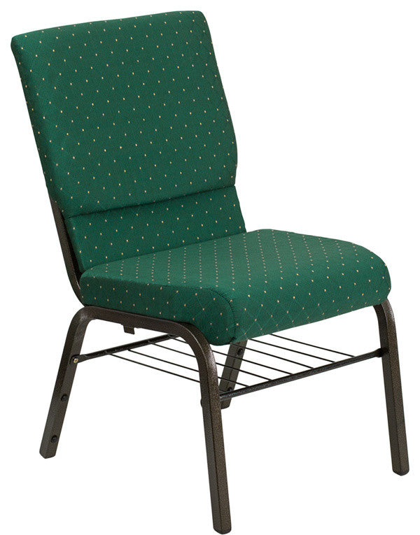 HERCULES Series 18.5''W Stacking Church Chair in Green Patterned Fabric - Gold Vein Frame