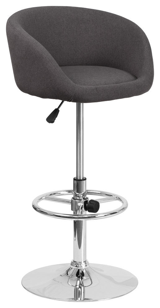Flash Furniture Contemporary Charcoal Fabric Adjustable Height Barstool with Barrel Back and Chrome Base - Pot Racks Plus