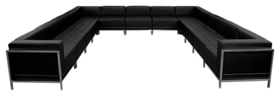 HERCULES Imagination Series Black LeatherSoft U-Shape Sectional Configuration, 13 Pieces