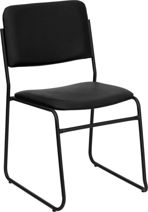 HERCULES Series 1000 lb. Capacity High Density Black Vinyl Stacking Chair with Sled Base