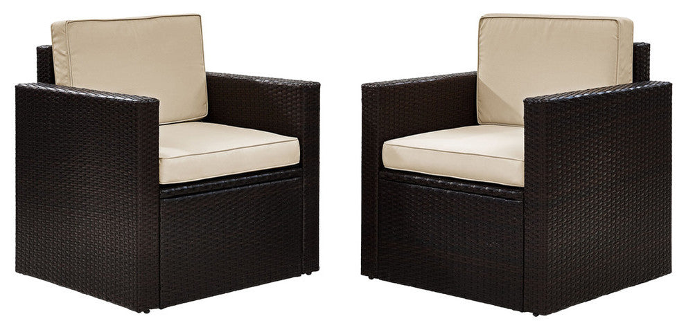 2-Piece Wicker Set Sand Cushions, 2 Outdoor Wicker Chairs - Pot Racks Plus