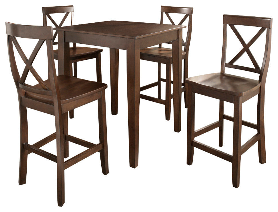 5-Piece Pub Dining Set With Tapered Leg andx- Back Stools, Vintage Mahogany - Pot Racks Plus