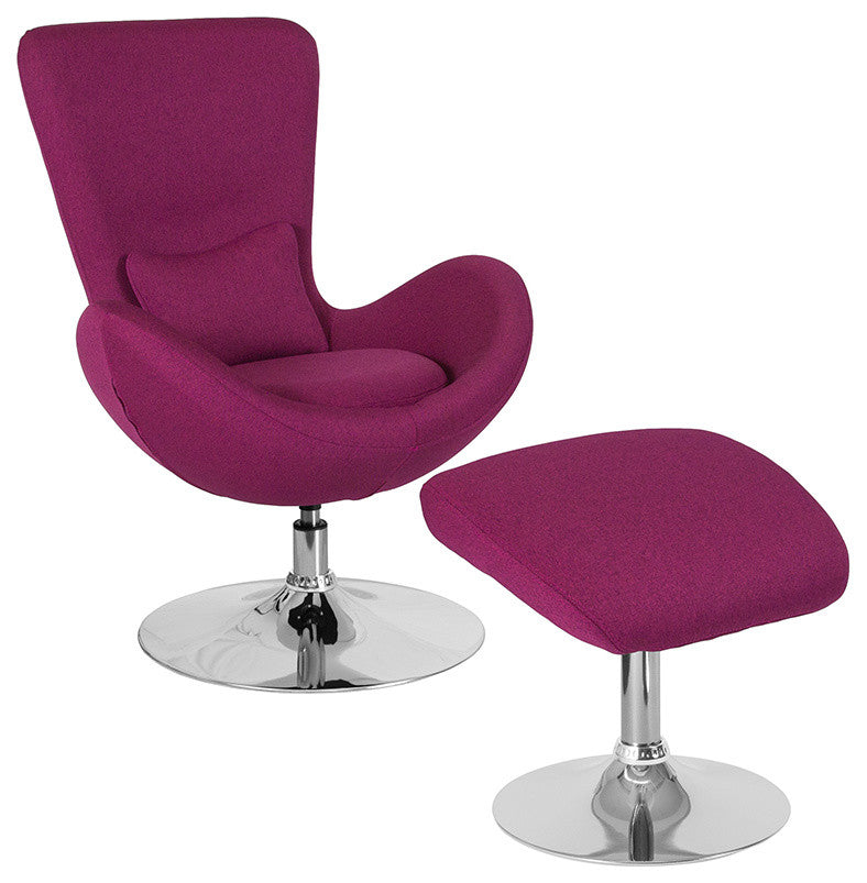 Flash Furniture   Egg Series Magenta Fabric Side Chair with Ottoman - Pot Racks Plus